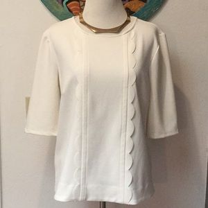 Ann Taylor Cream Scalloped Stretchy Top Size M